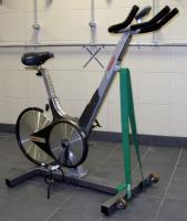 A Keiser M3 upright exercise bike from the home dressing room.