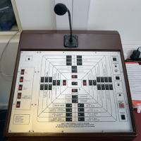 The bench mounted West Ham Football Club PA system control panel from the Betway Stand communications room.