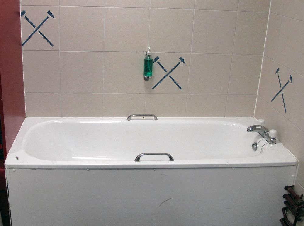 Of 215: The Ariston White Enamel Bathtub With Stainless Steel Mixer Tap And  White Bath Side Panel From The Home Team Dressing Room. Lot 157