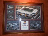 A framed picture containing 6 images of the Boleyn Ground, the home of West Ham United since 1904. Originally sited in The Thames Ironworks Bar Match Day Players Lounge.