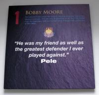 "A West Ham United crested canvas - 1 Bobby Moore ""He was my friend as well as the greatest defender I ever played against."" Pele."