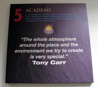 "A West Ham United crested canvas - 5 Academy ""The whole atmosphere around the place and the environment we try to create is very special"" Tony Carr."