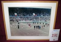A framed picture of the West Ham United v Wolves Bobby Moore minutes silence. Originally sited in the Greenwood and Lyall Lounge reception.