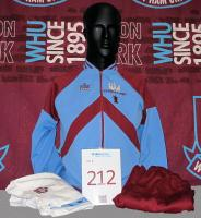 An Admiral West Ham United Wembley 1980 Cup final tracksuit top and bottoms and a pair of white West Ham United shorts. Understood by the club to have been worn by Trevor Brooking for West Ham United's F.A Cup final win against Arsenal at Wembley Stadium on the 19th May 1980. Trevor scored the winning goal after 13 minutes.