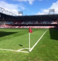 A corner flag used for West Ham United home matches at The Boleyn Ground.