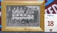 A framed postcard of West Ham United team competing in the 1923 FA Cup Final.