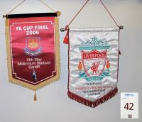 A large pennant of West Ham United FA Cup Final 2006 13th May 2006, Millennium Stadium Cardiff and a large pennant of You'll Never walk Alone, Liverpool Football Club Est.1892, FA Cup Final, Liverpool FC v West Ham United FC, Millennium Stadium 13 May 2006.
