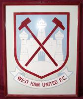 The painted claret and blue West Ham United F.C. crested metal sign that was originally sited pitch side of the old West Stand above the entrance to the Players Tunnel