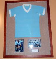 A framed match exchanged light blue Uruguay shirt, Uruguay 1 England 2, Friendly Played in Montivideo, 8th June 1969, Julio Cesar Morales wore the No. 11 shirt which he exchanged with Martin Peters. England winning 2-1 with goals from Francis Lee and Geoff Hurst with Uruguay's only goal coming from Luis Cubilla. Originally displayed in the Betway stand main central staircase.