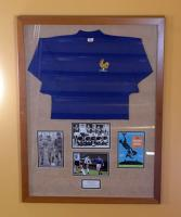 A framed match exchanged France shirt, England 5 France 0, friendly played at Wembley, 12th March 1969, Jacque Simon wore the No. 8 shirt which he exchanged with Martin Peters. England winning 5-0 with goals from Michael O'Grady, Francis Lee and a Geoff Hurst hat-trick (including 2 penalties). Originally displayed in the Betway stand main central staircase.