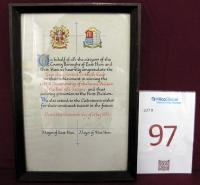 "A framed scroll, ""On behalf of all citizens of the County Boroughs' of East Ham and West Ham we heartily congratulate the West Ham United Football Club on their achievement in winning the 1957-58 Championship of the Second Division of The Football League and thus securing promotion to the First Division. We also extend to the club sincere wishes for their continued success in the future. Dated this thirteenth day of May 1958"". Signed by the Mayor of East Ham and West Ham."