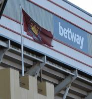 A flag pole with West Ham United flag, originally sited on top of the Betway Stand turret.