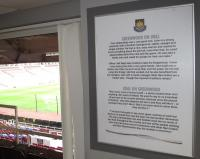A framed 'West Ham United Greenwood on Lyall / Lyall on Greenwood' quotes. Originally sited in the Greenwood and Lyall Lounge.