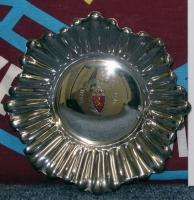 "A Spanish silver dish, inscribed ""Real Zaragoza, presented to Martin Peters"". Real Zaragoza 1 v West Ham United 1, European Cup Winners Cup Semi- Final 2nd Leg, Estadio de la Romareda, 28th April 1965. The dish was given as a gift to members of the West Ham United team. The match ended a 1-1 draw with West Ham United's goal coming from John Sissons."