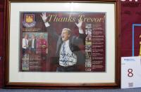 A framed print 'Thanks Trevor! A Full Record in Two Spells as Caretaker Manager' signed by Trevor Brooking. Originally sited in The Thames Ironworks Bar Match Day Players Lounge.