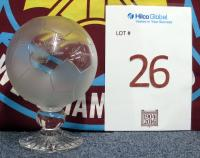 A glass trophy formed as a football and inscribed F.A. Cup Winners 1980, West Ham 1 v Arsenal 0 and inscribed on the reverse with the West Ham United club crest. Following West Ham United's F.A Cup Final win against Arsenal at Wembley Stadium on the 19th May 1980 with Trevor Brooking scoring the winning goal after 13 minutes.