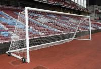 A mobile training goal with net used for pre-match warm up.