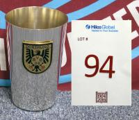 A metal drinking cup marked Stadt Dortmund; European Cup Winners Cup, Semi-Final (2nd Leg), Rote Erde Stadium, 13th April 1966. Borussia Dortmund winning the match 3-1 with goals from Luthar Emmerich (2) and Gerhard Cyliax with John Byrne scoring in reply for West Ham. Borussia Dortmund won the two legged tie 5-2 on aggregate and went on to beat Liverpool 2-1 in the final.