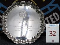 A silver shaped circular tray, inscribed Professional Footballers Association Merit Award, 1986 for outstanding achievement in Professional Football, Martin Peters MBE. The Professional Footballers Association Merit Award is an award given by the Professional Footballers Association (the PFA) for meritorious service to football. The award was first given in 1974, and was won (jointly) by Bobby Charlton and Cliff Lloyd. In 1986 the award was given out to the England 1966 World Cup winning Squad w