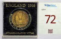"A gilt-metal medal, the obverse inscribed ""World Cup Willie"", the reverse inscribed ""World Championship Jules Rimet Cup, England 1966"", in original Perspex box, inscribed England 1966 World Cup Championship Commemorative Medal, presented to Bobby Moore."