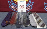 Six neck ties once belonging to Martin Peters, two English Schools FA, two West Ham United and two Football Association.